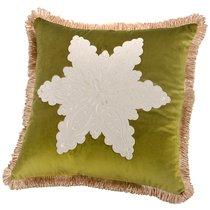 Декоративная Подушка 46x46 см, Снежинка П/Э 100%, Зеленая - Santalino