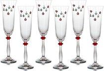 Набор бокалов для шампанского из 6 шт. ЕЛОЧНЫЕ ИГРУШКИ 190 мл ВЫСОТА 25 см . - Crystalex