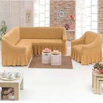 Чехол д/мягкой мебели Угловой 2-х пр.(3+1) кресла 1шт JUANNA, цвет медовый - Meteor Textile