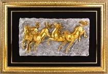 Панно Лошади Золото 85*120 см - CFS