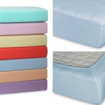 Простыня Cleo трикотажная на резинке 90*200*25 (голубой) 9/06, цвет голубой, 90x200x25 - Cleo