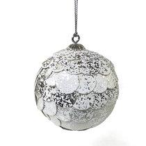 Шар новогодний декоративный Paper ball, серебристый мрамор - EnjoyMe