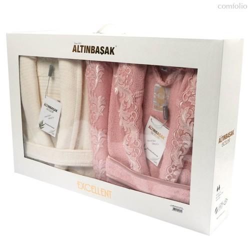 """Набор халатов бамбук """"ALTINBASAK"""" семейный Бежевый/Кремовый, размер L-XL - Altinbasak Tekstil"""