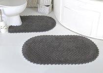 "Набор ковриков для ванной ""MODALIN"" кружевной PRIOR 60x100 + 50x70 см 1/2, цвет темно-серый, 50x70, 60x100 - Bilge Tekstil"