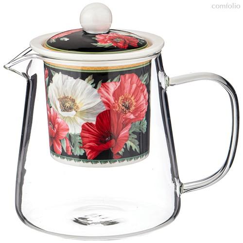 Чайник Стеклянный с Ситом Маки 500 мл Черный - Meizhou Yuesenyuan