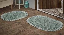 """Набор ковриков для ванной """"MODALIN"""" кружевной с люрексом DUAL 50x80 + 45x60 см 1/2, цвет светло-зеленый, 45x60, 50x80 - Bilge Tekstil"""