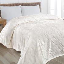"""Плед KARNA вельсофт жаккард """"PIRAMIT"""" 160x220 см, цвет кремовый, 160 x 220 - Bilge Tekstil"""