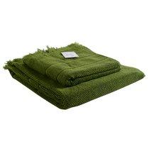 Полотенце банное с бахромой оливково-зеленого цвета Essential, 70х140 см - Tkano