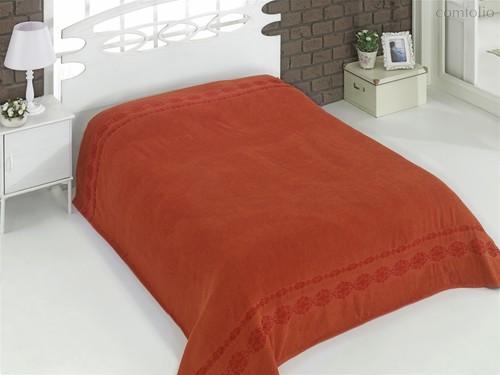 Простынь махровая Karna Rebeka, цвет кирпичный, размер 160x220 - Karna (Bilge Tekstil)