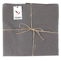Скатерть на стол из умягченного льна с декоративной обработкой темно-серого цвета Essential, 143х143, цвет темно-серый, 143x143 - Tkano