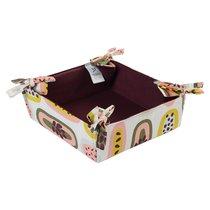 Корзинка для хлеба из хлопка бордового цвета с принтом Passion Fruit из коллекции Wild, 35х35 см - Tkano