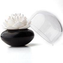 Контейнер для хранения ватных палочек Lotus черный-белый - Qualy