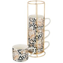 Набор Кружек Golden Rose 4 Шт. На Металл.Подставке 360 мл, Геометрия - Porcelain Manufacturing Factory