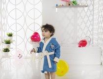 """Халат детский с велюром """"KARNA"""" с капюшоном SNOP (2-3 Лет), цвет синий - Bilge Tekstil"""