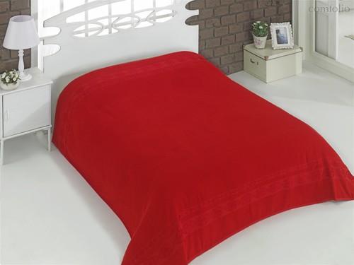 Простынь махровая Karna Rebeka, цвет красный, размер 160x220 - Karna (Bilge Tekstil)