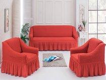 Чехол д/мягкой мебели 3-х пр.(3+1+1) JUANNA, цвет терракотовый - Meteor Textile
