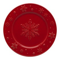 "Тарелка закусочная Bordallo Pinheiro ""Снежинки"" 22см, красная, цвет красный, 22 см - Bordallo Pinheiro"