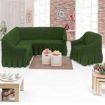 Чехол д/мягкой мебели Угловой 2-х пр.(3+1) кресла 1шт JUANNA, цвет оливковый - Meteor Textile
