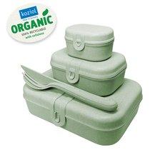 Набор из 3 ланч-боксов и столовых приборов PASCAL Organic зеленый - Koziol