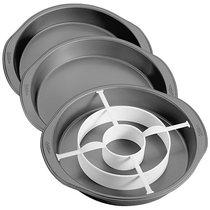 Набор 3 круглые формы для многослойной выпечки Wilton 22,8 х3,8см ,1 разделит. кольцо, пластик - Wilton