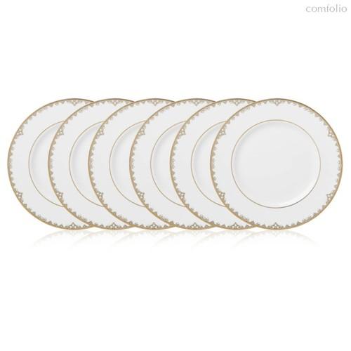 Набор тарелок акцентных Lenox Федеральный,золотой кант 23см, фарфор, 6шт - Lenox