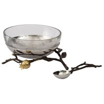 "Набор чаша стеклянная на подставке с ложкой Michael Aram ""Гранат"" 19см, (2пр) - Michael Aram"