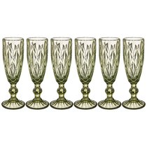 Бокалы для шампанского Ромбо 6 шт. 150мл Серия Muza Color Высота 20 см - Honkong Maple