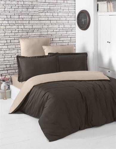 Постельное белье Karna Loft, двухстороннее, цвет шоколадный, размер 2-спальный - Karna (Bilge Tekstil)