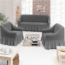 Чехол д/мягкой мебели 3-х пр.(3+1+1) JUANNA, цвет серый - Meteor Textile