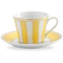 """Чашка чайная с блюдцем 240мл """"Карнавал"""" (желтая полоска) п/к, цвет желтый - Noritake"""