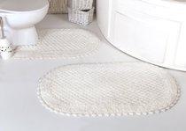 """Набор ковриков для ванной """"MODALIN"""" кружевной PRIOR 60x100 + 50x70 см 1/2, цвет кремовый, 50x70, 60x100 - Bilge Tekstil"""