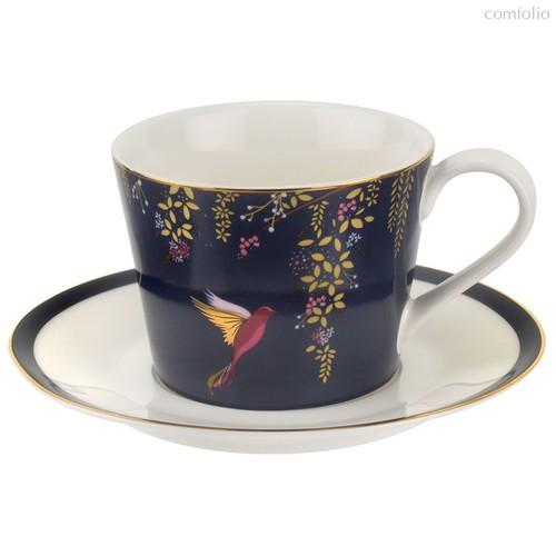 """Чашка чайная с блюдцем Portmeirion """"Сара Миллер. Челси"""" 200мл (темно-синяя) - Portmeirion"""