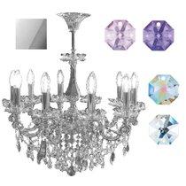 Divo Люстра 10-ти рожковая потолочная chrom swarovski strass (crystal AB, violet, blue violet) - Donolux