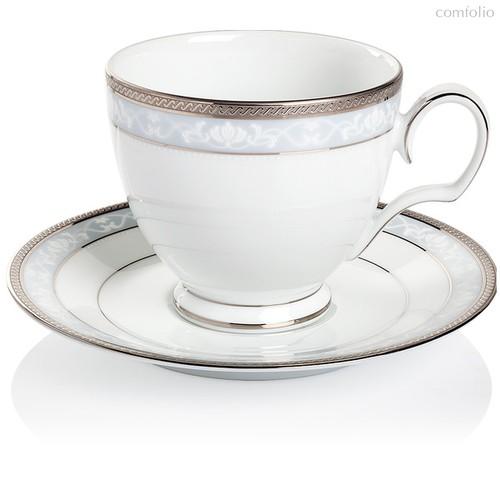 """Чашка чайная с блюдцем 250мл """"Хэмпшир, платиновый кант"""" - Noritake"""
