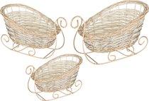 Набор Декоративных Саней Из 3-Х Шт. L:45x30x12/24S:28x19x9/16 см - FUNAN LIMIN CRAFTS