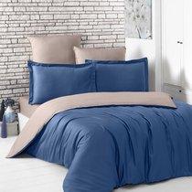 Постельное белье Karna Loft, двухстороннее, цвет капучино/синий, 2-спальный - Karna (Bilge Tekstil)