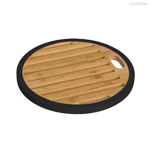 Подставка под горячее Bamboo круглая черная 20x20x1,2, цвет дерево/черный - D'casa