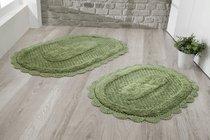"Набор ковриков для ванной ""MODALIN"" кружевной LOKAL 60x100 + 50x70 см 1/2, цвет темно-зеленый, 50x70, 60x100 - Bilge Tekstil"