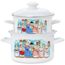 """Набор посуды ЭТ-71414 """"Повара"""" цилиндрический 2,0+3,0 л 4пр - Эстет"""