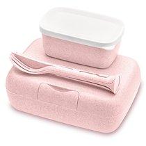 Набор из 2 ланч-боксов и столовых приборов Candy Ready Organic розовый - Koziol