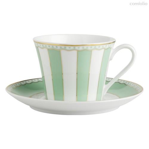 """Чашка чайная с блюдцем 240мл """"Карнавал"""" (зеленая полоска) п/к, цвет зеленый - Noritake"""