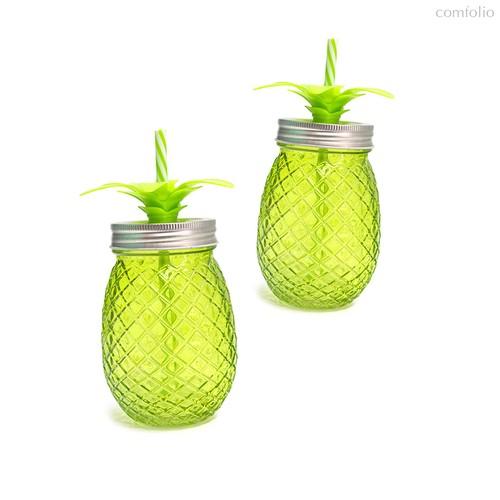 Набор стаканов с крышкой и трубочкой Tropico 500мл 2шт., цвет зеленый - Balvi