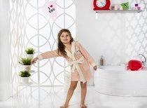 """Халат детский с велюром """"KARNA"""" с капюшоном SNOP (4-5 Лет), цвет абрикосовый - Bilge Tekstil"""