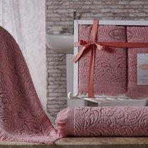 "Комплект махровых полотенец ""KARNA"" ESRA 50x90-70х140 см, цвет розовый, 50x90, 70x140 - Bilge Tekstil"