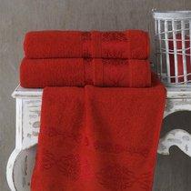 Полотенце махровое Karna Rebeka, цвет красный, размер 70x140 - Karna (Bilge Tekstil)