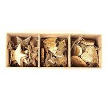 Украшения подвесные Golden Stars/Trees/Hearts, деревянные, в подарочной коробке, 24 шт. - EnjoyMe