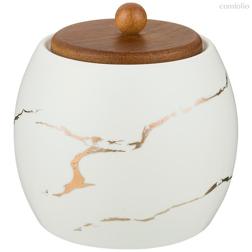 Сахарница Коллекция Золотой Мрамор Цвет: White 9,5x10,2 см - Porcelain Manufacturing Factory