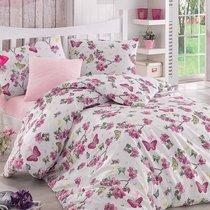 Постельное белье Ranforce Butterfle, цвет фуксия, размер Евро - Altinbasak Tekstil