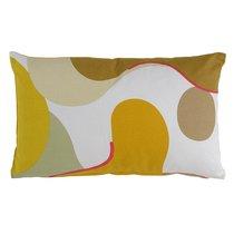 Подушка декоративная из хлопка горчичного цвета с авторским принтом из коллекции Freak Fruit, 30х50 см - Tkano