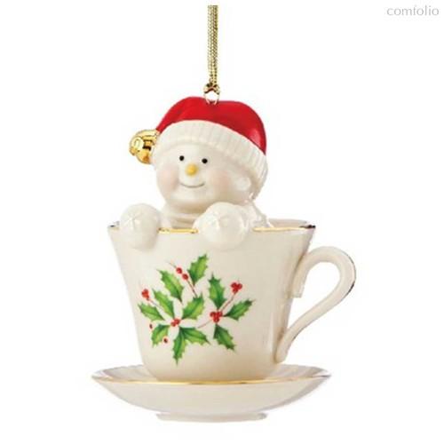 """Украшение новогоднее Lenox """"Чаепитие со снеговиком"""" 8см - Lenox"""